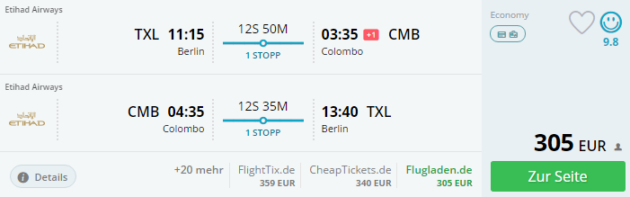 Berlin nach Colombo