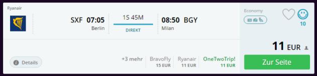 Berlin nach Mailand