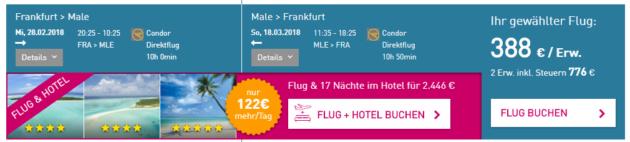 Frankfurt nach Male