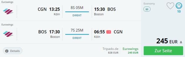 Köln nach Boston