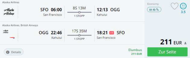 San Francisco nach Hawaii