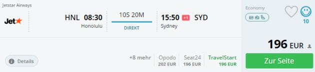 Honolulu nach Sydney