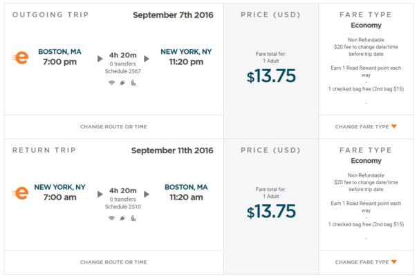 Boston nach New York