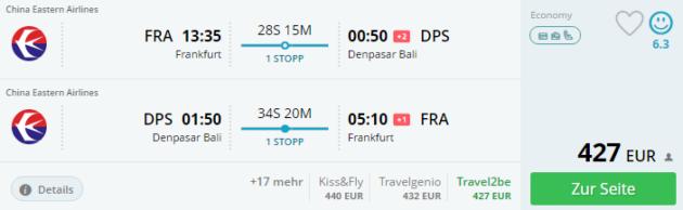 Frankfurt nach Bali Schnaeppchen