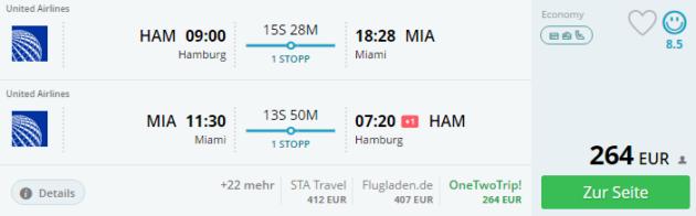 Hamburg nach Miami