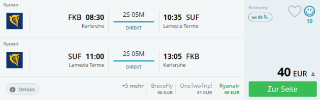 Karlsruhe nach Kalabrien