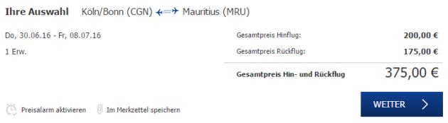 Köln nach Mauritius Flüge