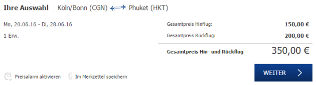 Köln nach Phuket