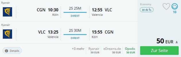 Köln nach Valencia