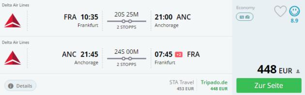 Frankfurt nach Alaska