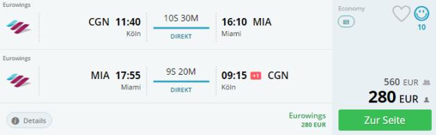 Koeln nach Miami