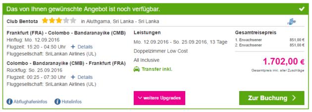 13 Tage Sri Lanka All Inclusive Angebot