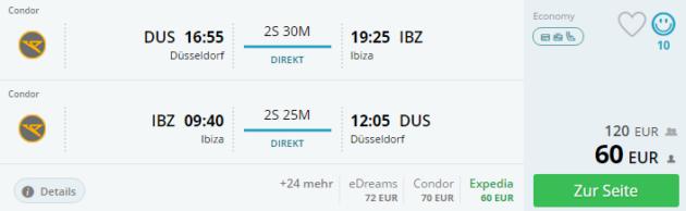 Duesseldorf nach Ibiza