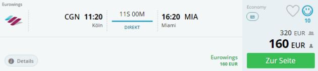 Köln nach Miami