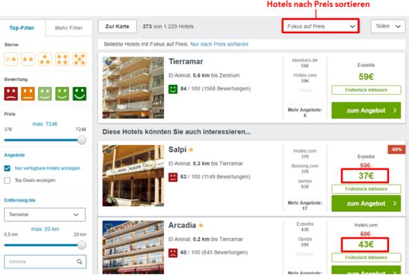 Hotels nach Preis sortieren Trivago