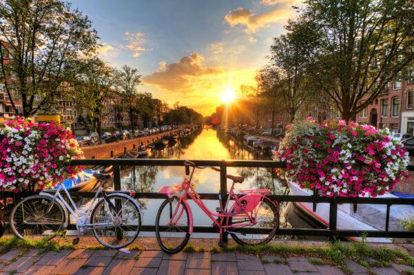 Amsterdam rosa Fahrrad