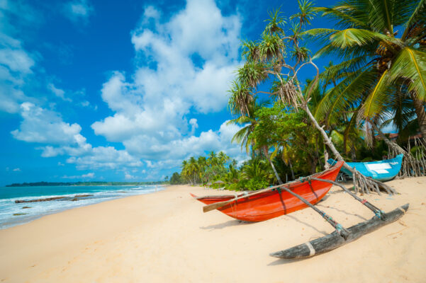 Fischerboot Strand auf Sri Lanka