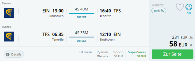 Eindhoven nach Teneriffa