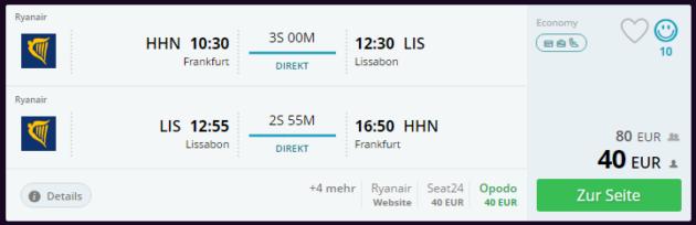 Frankfurt nach Lissabon