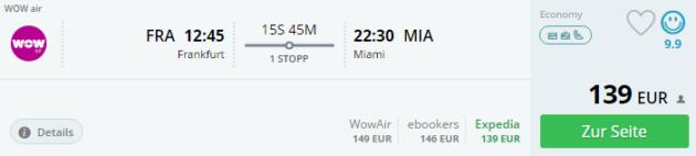 Frankfurt nach Miami