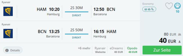 Hamburg nach Barcelona