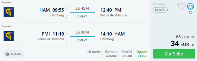 Hamburg nach Palma