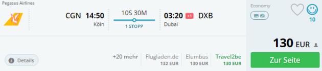 Köln nach Dubai