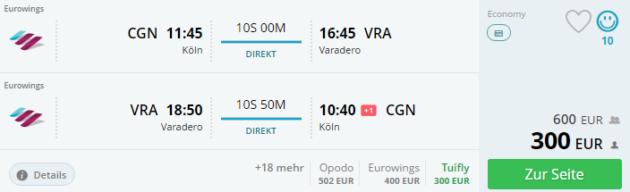 Köln nach Varadero