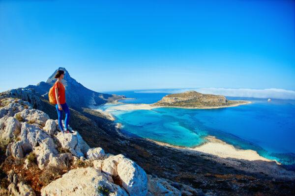 Frau auf Kreta, Balos Beach
