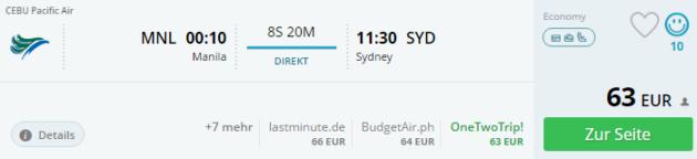Manila nach Sydney