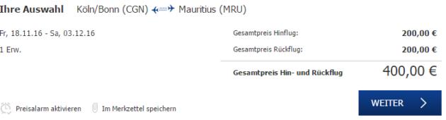 Mauritius Flug