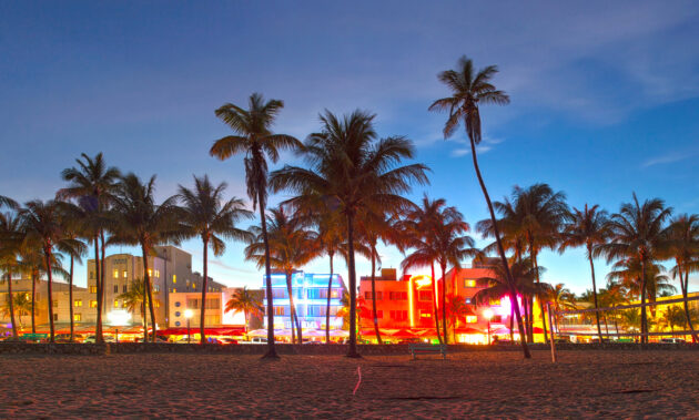Miami Strand am Abend