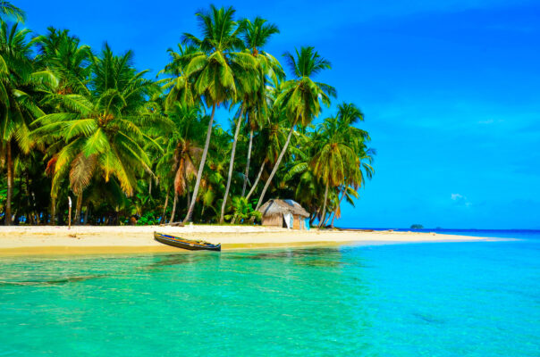 Panama Strand und Boot