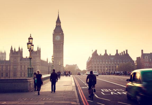 Retro Foto auf Westminster Brücke