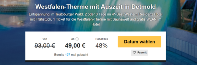 2 Tage Westfalen Therme mit Hotel