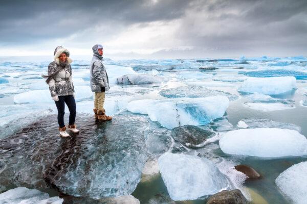 Island Paar Icebergs