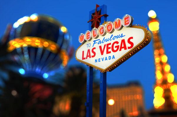 Welcome Las Vegas Schild am Abend