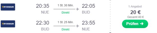 Nuernberg nach Budapest