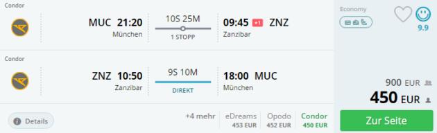 Sansibar Flug Angebot