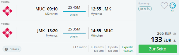 Flug Mykonos Deal