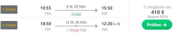 Frankfurt nach Martinique