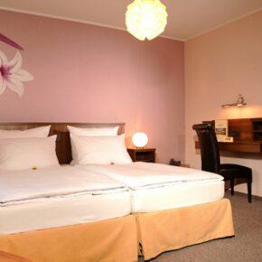 Hotel Lellmann Ludwig Zimmer mit Blume