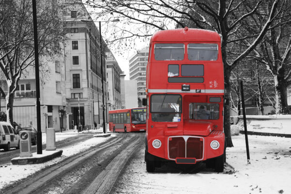 London Bus im Winter