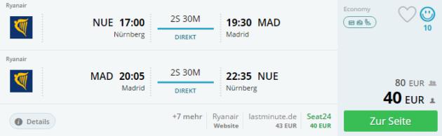 Nürnberg nach Madrid
