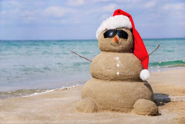 Schneemann Strand Weihnachten