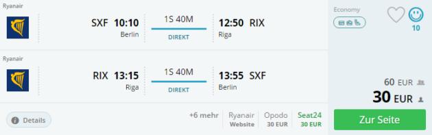 Flug von Berlin nach Riga