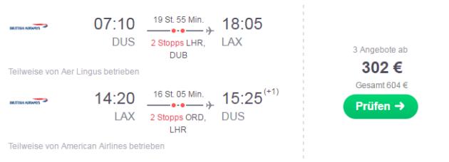 Flug Düsseldorf Los Angeles