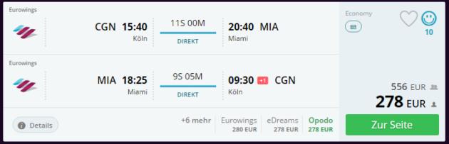 Flug Köln Miami
