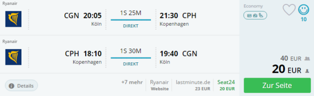 Flug Kopenhagen