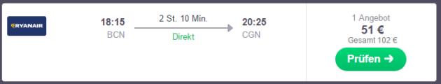 Flug nach Köln Schnäppchen
